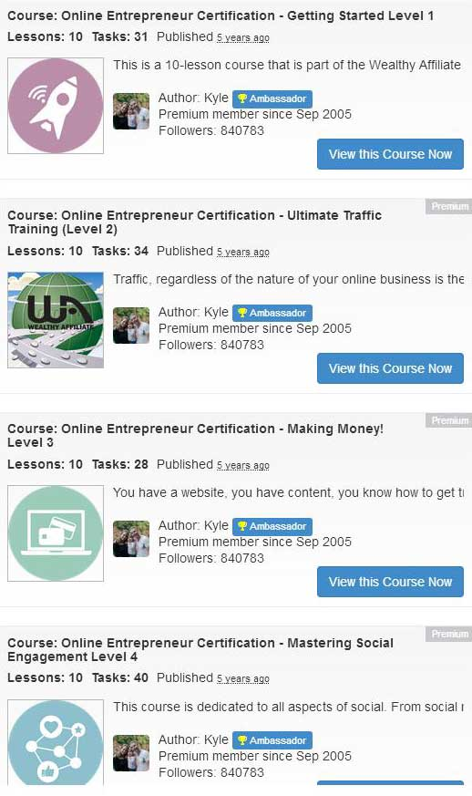 Wealthy Affiliate certification courses