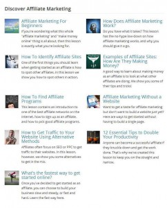 Affilorama's free affiliate marketing lessons