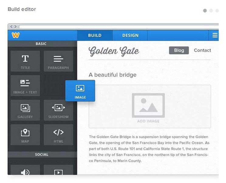 Weebly's editor is easy to use