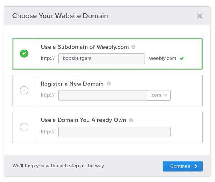 Weebly domaine name form