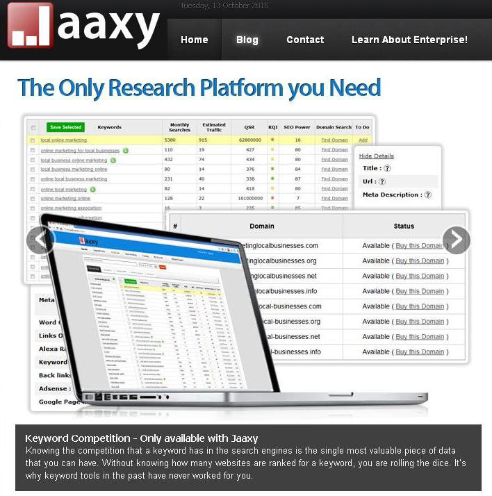 Jaaxy Keyword Tool website