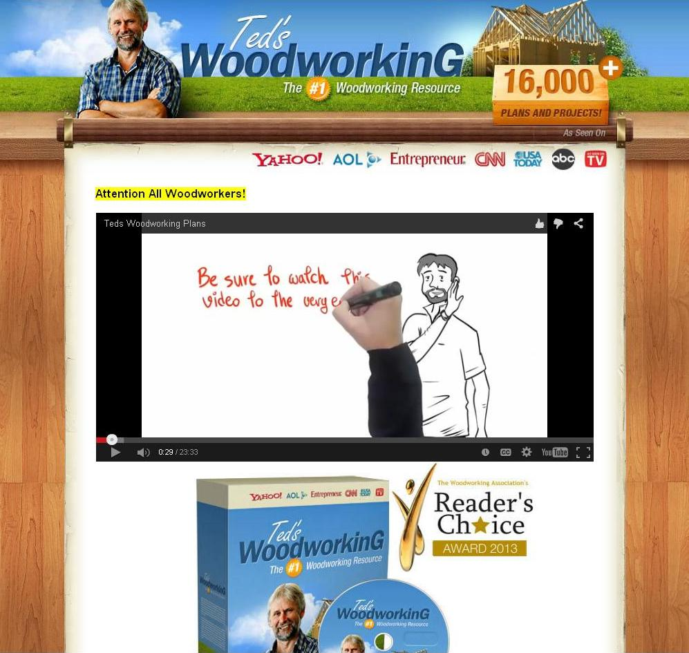 Ted's Woodworking Plans video is very professional is